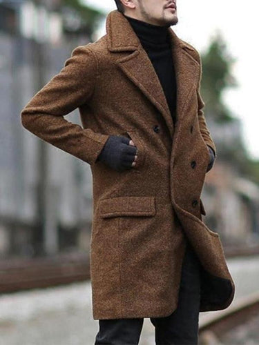 Men Formal Lapel Straight Wool Overcoat
