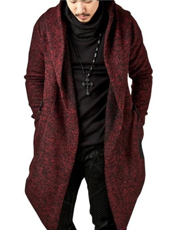 Men Pure Color Irrugular Hoodie Cardigan