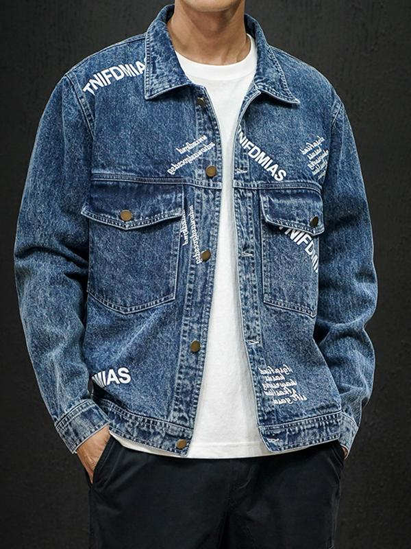 Men Printed Denim Jacket Coat