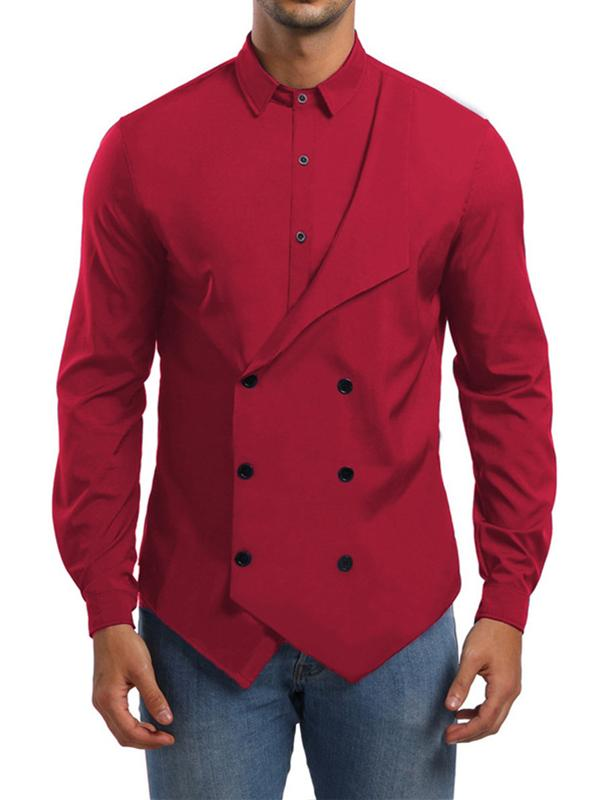 Men Lapel Solid Blouse Shirt