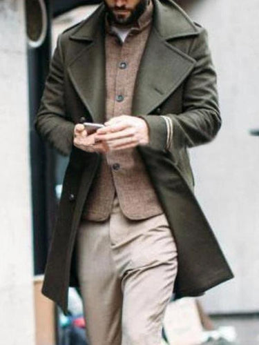 Army Green Lapel Cardigan Coat