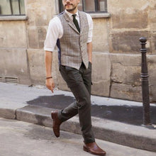 Load image into Gallery viewer, Men Lapel Plaid Herringbone Waistcoat