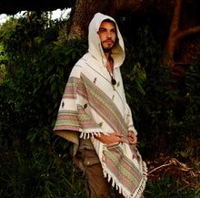 Load image into Gallery viewer, Men Hooded Poncho Boho Print Cloak