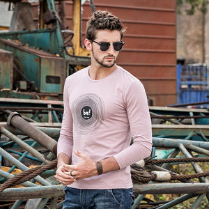 Men Round Neck Solid Blouse Shirt
