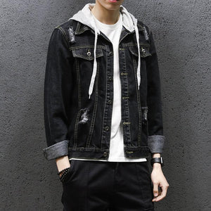 Men Denim Hoodie Jacket