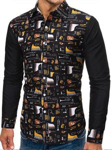 Men Printing Long Sleeve Shirt