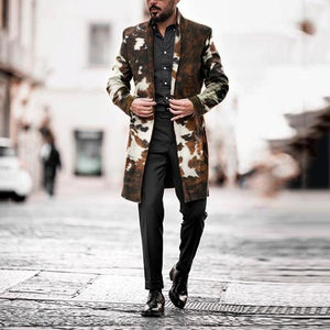Men Print Fashion Collar Long Sleeve Midi Coat