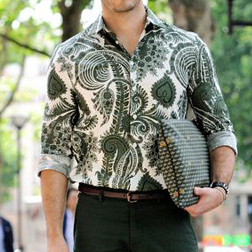 Men Street Style Printed Long Sleeves Shirt