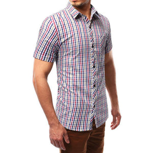 Men Short Sleeves Plaid Blouse Shirt