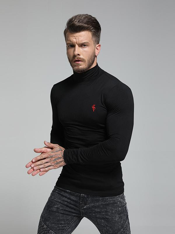 Men High Neck Long Sleeve T Shirt