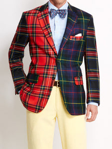 Men Revere Collar Splicing Plaid Blazer