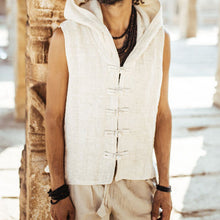 Load image into Gallery viewer, Men Off-White Sleeveless Hooded  Vest Top