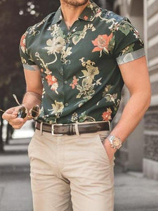 Men Casual Short Sleeves Printed Shirt