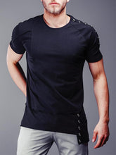 Load image into Gallery viewer, Men Round Neck Solid Blouse Shirt