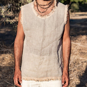 Men Solid Frayed Sleeveless Shirt