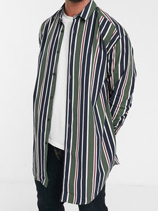 Men Lapel Striped Blouse Shirt