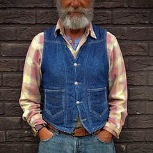 Load image into Gallery viewer, Men Vintage Denim Herringbone Waistcoat