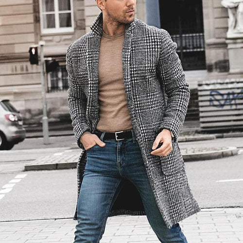 Men Trendy Houndstooth Cardigan Coat