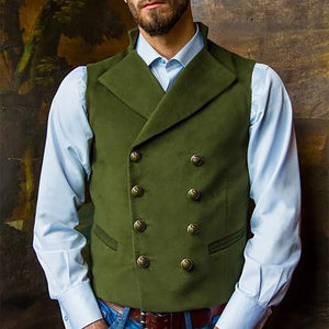 Men Double Breasted Herringbone Waistcoat