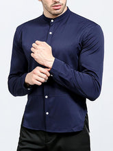 Load image into Gallery viewer, Men Round Neck Solid Button Shirt