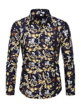 Load image into Gallery viewer, Men Lapel Printed Blouse Shirt