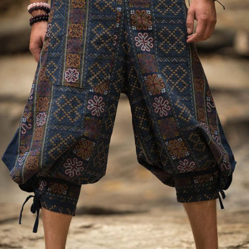 Men Geometric Wide Leg Trousers