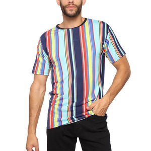 Men Short Sleeves Basic Color Striped T-Shirt