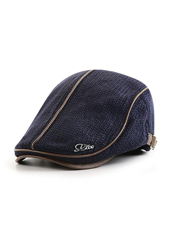 Men Beret Hat Thick Warm Casual Cap