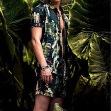 Load image into Gallery viewer, Men Plant Printed Short Sleeve And Short Bottom Casual Suit