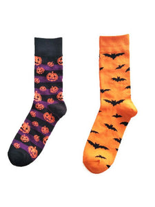 2Pairs Hallowen Breathable Cotton Socks(For US Size7-10)