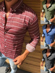 Men's Striped Long Sleeve Blouse Shirts