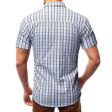 Load image into Gallery viewer, Men Short Sleeves Plaid Blouse Shirt