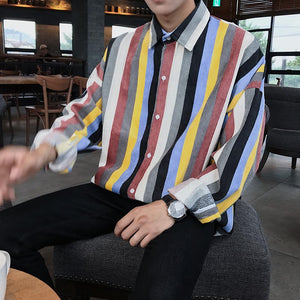 Men Striped Long Sleeve Blouse Shirts