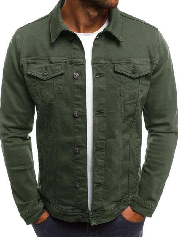 Men Pocket Solid Casual Jacket