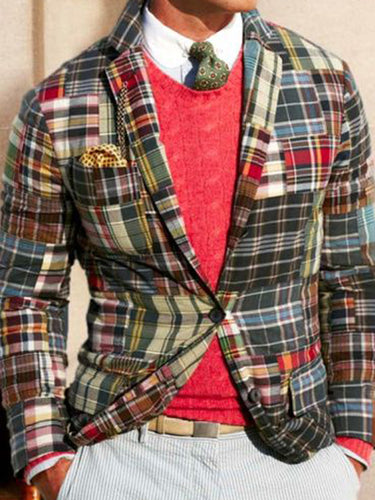 Men Revere Collar Festival Plaid Blazer