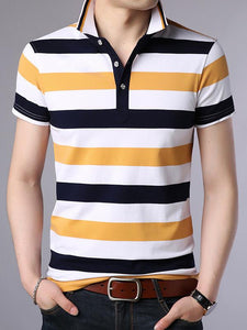 Men Polo Short Sleeves Blouse Shirt