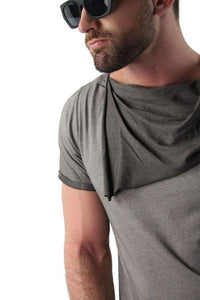 Men Asymmetric Short Sleeves T-Shirt