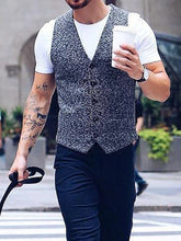 Load image into Gallery viewer, Men V-Neck Solid Herringbone Waistcoat
