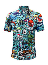 Load image into Gallery viewer, Men Printed Short Sleeves Shirt