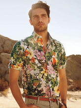 Load image into Gallery viewer, Men Lapel Floral Printed Shirt