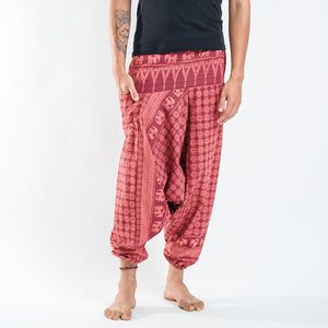 Men Southeast Asian Traditional Red Printed Harem Pants