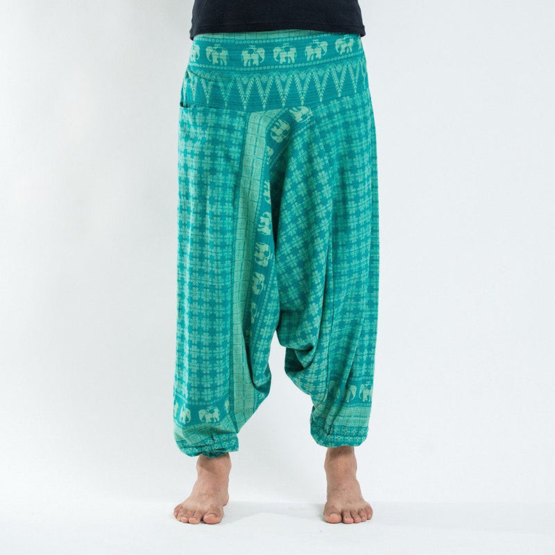Men Southeast Asian Traditional Green Printed Harem Pants