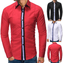 Load image into Gallery viewer, Men Lapel Solid Blouse Shirt