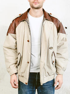 Men Beige Parka Coat Vintage Jacket