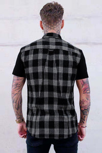 Men Lapel Plaid Shirt