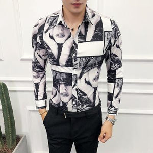 Men Long Sleeves Printed Lapel Blouse Shirt