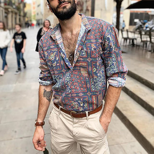 Men Vintage Casual Pattern Printed Shirts