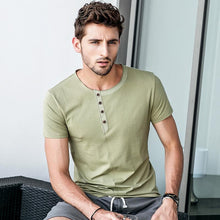 Load image into Gallery viewer, Men Button Simple T-Shirt