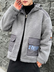 Men Casual Long Sleeves Winter Lamb Cashmere Hoodie Cardigan Coat