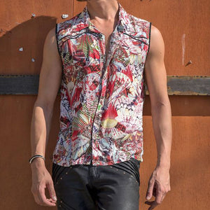 Men Hawaii Style Printed Sleeveless Shirt